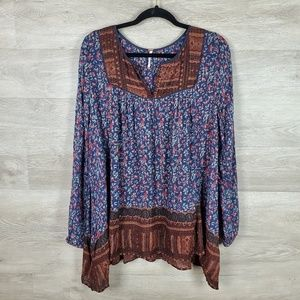 Free People Floral Peasant Tunic Top Size M